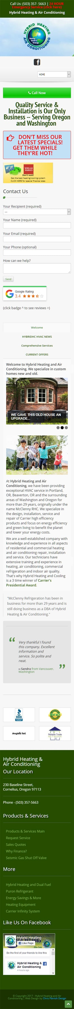 Hybrid Heating and Air Conditioning Mobile View